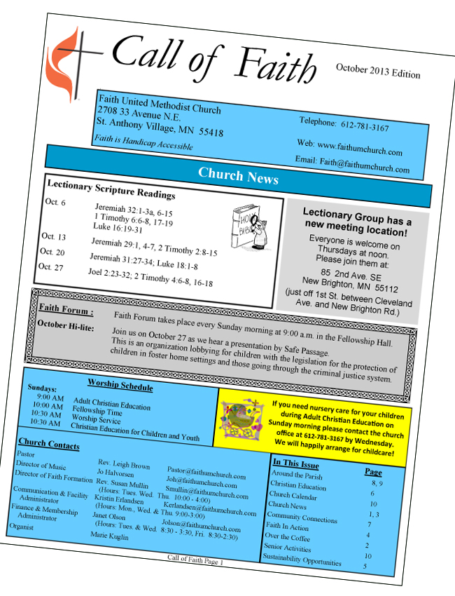 Image of Call of Faith Newsletter